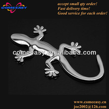newest chrome silver metal gecko style car badge emblem