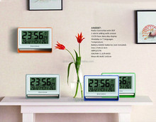 DCF Radio Control Wall Clock with Jumbo LCD Digit Hour Minute Calendar Temperature