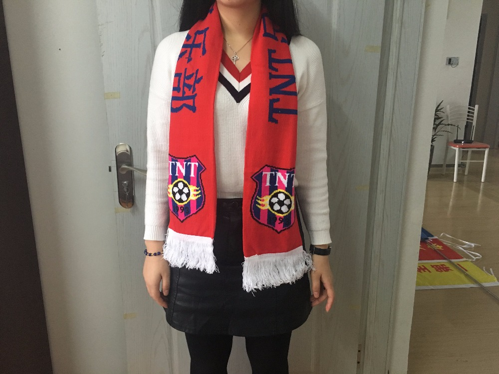 Customer design european cup satin acrylic scarf knitting promotion products logo printing soccer fan sport football scarf