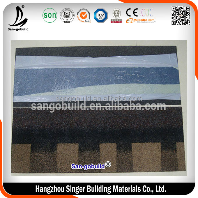 Colorful 5 tab / Double Layer Fiberglass Asphalt Roofing Shingle, Laminated Bitumen Roof Shingle Tile Felt