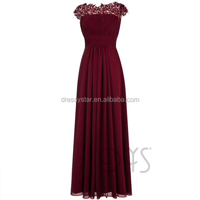 2017 Graceful full-legnth ruched chiffon bodice burgundy bridesmaid dress with lace appliques