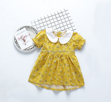 Printed Linen Flower Baby Cotton Frocks Designs Dress Bubble Doll Girls Dresses