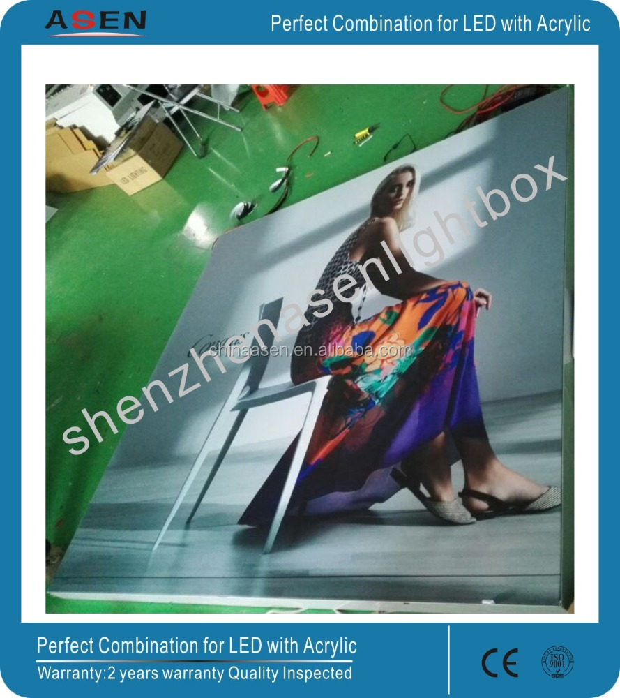 Aluminum profile standing textile double side Edgelit fabric light box display