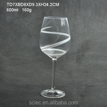 600ml grapes wine glass with white line decoration
