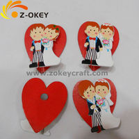 2015 new Wedding fashion decorations with the image of Bride and Bridegroom wood fridge magnet