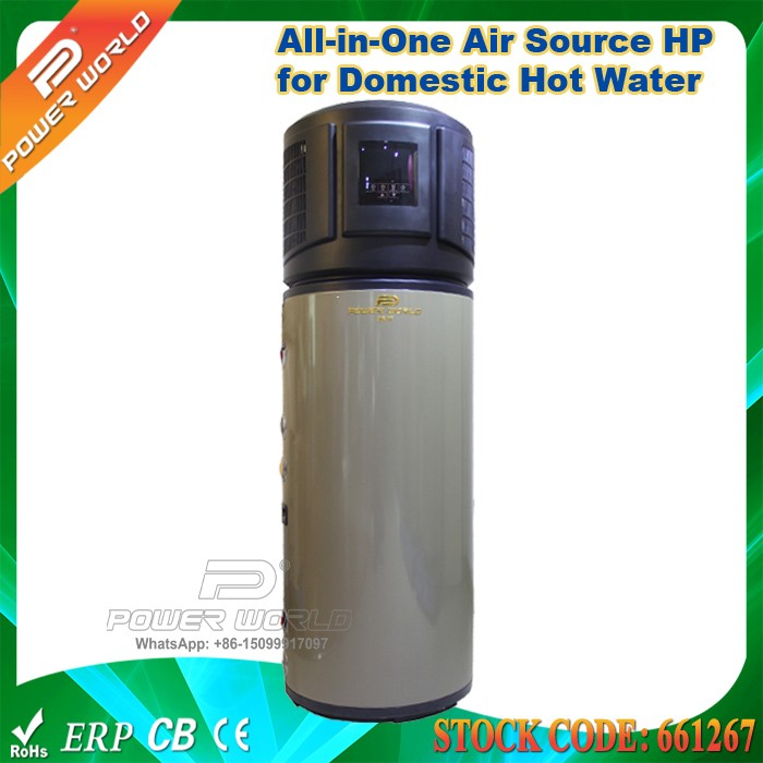 3kw All in One Air to Sanitary Hot Water Heater Pump 200L Storage Tank 1.5kw Electric Heating