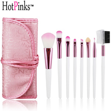 High Quality 8 PCS Portable Soft Hair Pink White Makeup Brush Set with Case