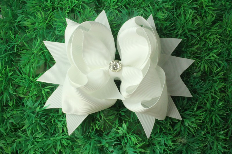 solid grosgrain ribbon hair bow with diamond