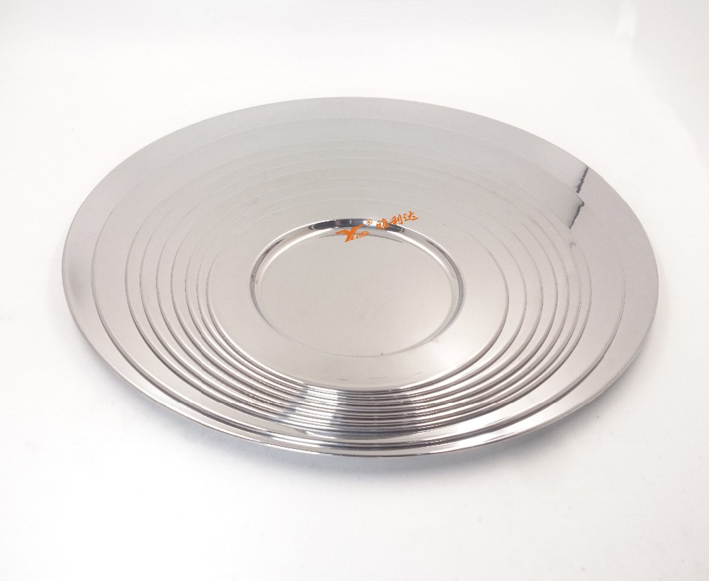 Restaurant wedding hotel use silver round stainless steel wedding plate set