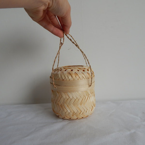 Tea Use Weaving Bamboo Storage Basket Gift Basket With Jute Rope