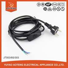 vde approval european Male and female extension line.vde 3pin Switch plug power cord.plug connector cable