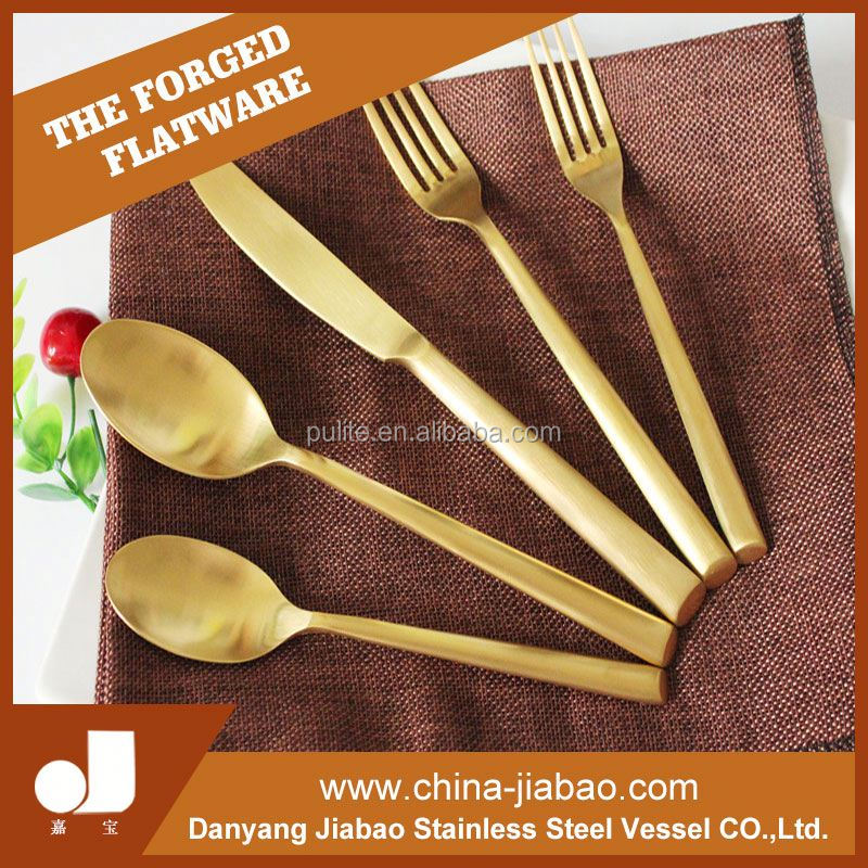 resturant utensils gold plated stainless steel flatware set
