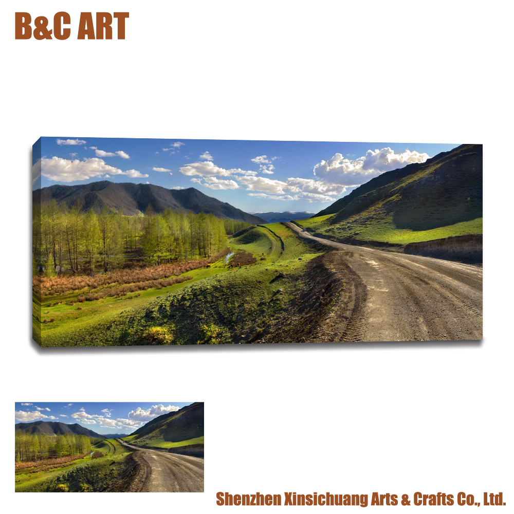 Gallery Wrap Forest Picture Painting Large Size Landscape Wall Decor Canvas Print for Hotel Lobby