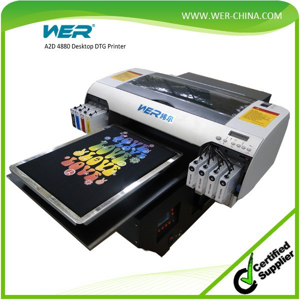 easy to use A2 size WER-D4880T black garment printer direct tshirts printing machine