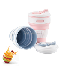 Wholesale Folding Water Cup With Air Tight Lid Portable Camping Travel Coffee Collapsible Silicone Cup
