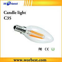 2015 new design Glass Cover Ceramic Filament bulb e14 Ceramic candle led bulb light