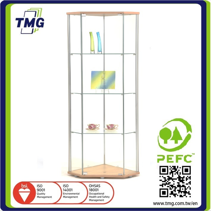 High wooden wholesale glass wall display cases for living room corner / wall cabinet