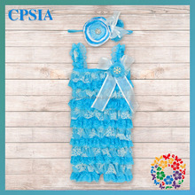 Spaghetti Strap Snowflake Style Aqua Blue&White Lace Rompers Match with Fashion Headbands