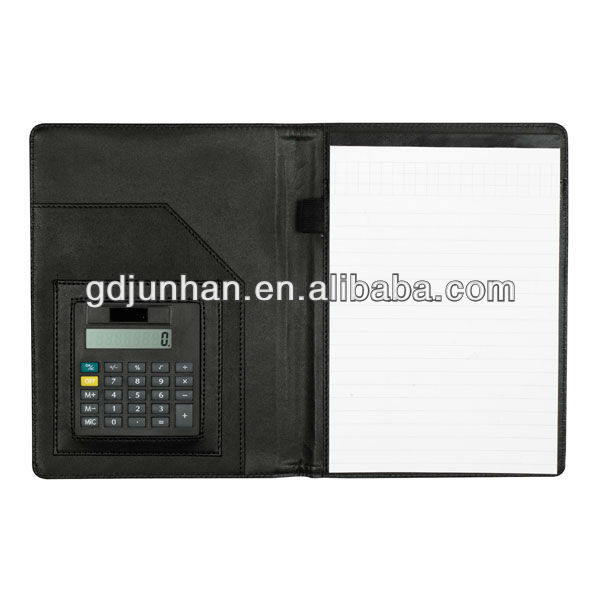JH-11301 a4 leather file folder with calculator