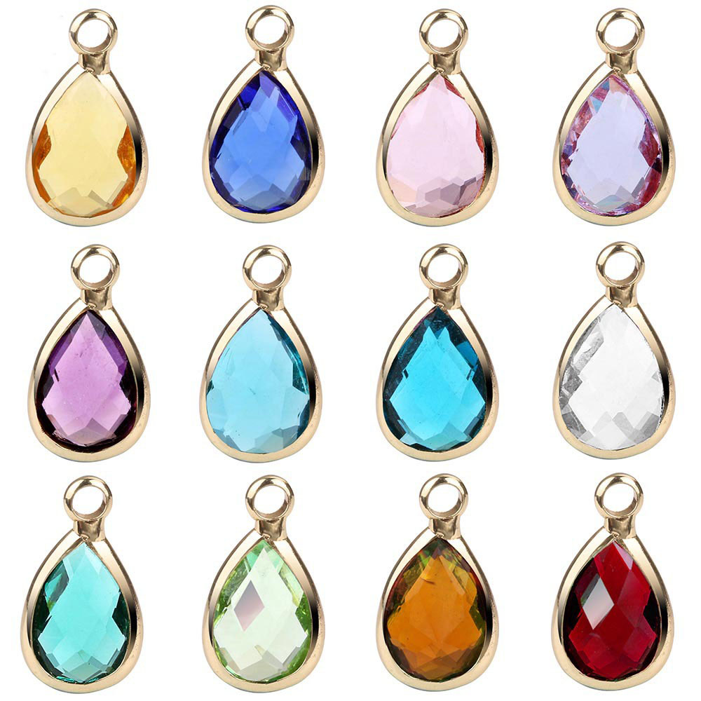 Wholesale fashion DIY 12 months birthstone drop <strong>Charm</strong> for Bracelet Jewelry
