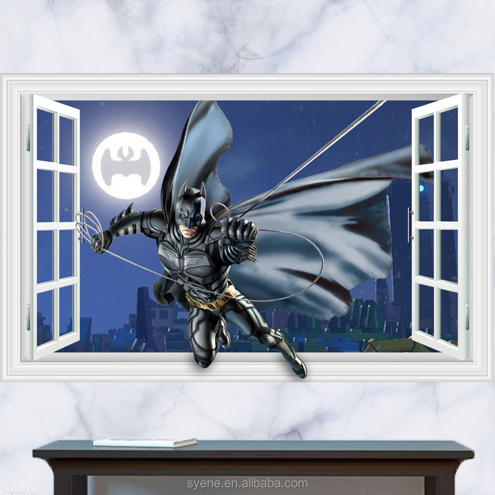 3dfake window cartoon movie character Batman hero window wall stickers removable window decals for kids boy home decor wallpaper