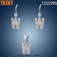 316L stainless steel letter W jewelry set stainless steel jewelry set in latest design