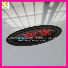 Fashionable oval shape with sewing line pvc name badge