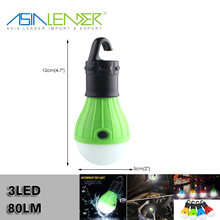For Camping, Hiking 3Light Modes 100%~50%~Flash 3*AAA Battery Powered 3LED 80LM Single Hanging Light Bulb