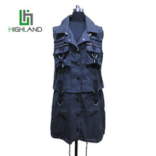 new design cotton cheap vests removable vest denim womens vest