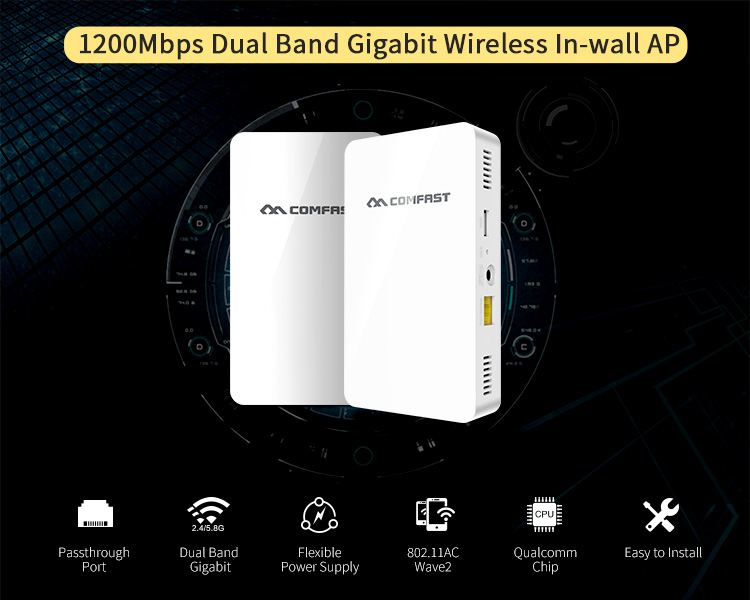 COMFAST CF-E560AC 802.11AC WAVE2 Wireless Access Point Board 1200Mbps Dual Band In-wall WiFi Router