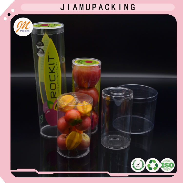 food grade disposable clear plastic cylinder container round box