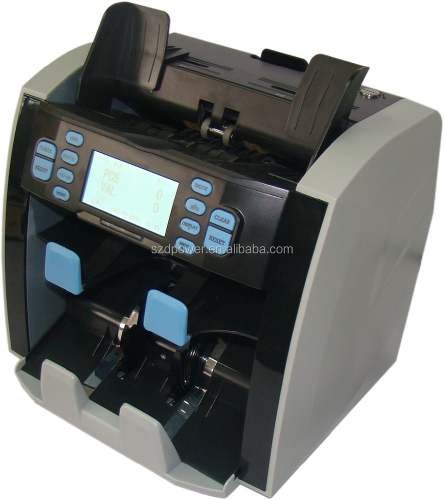 Double Power 1.5 pockets Multi-Currency Mix value sorter,money counting machine.