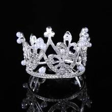 high quality high crown metal Tiaras Crown with Plastic Pearl for children 639129