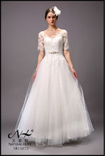 chic exquisite lace bateau neckline wedding dress ivory organza A line floor length wedding dresses half sleeve 2015 new arrival