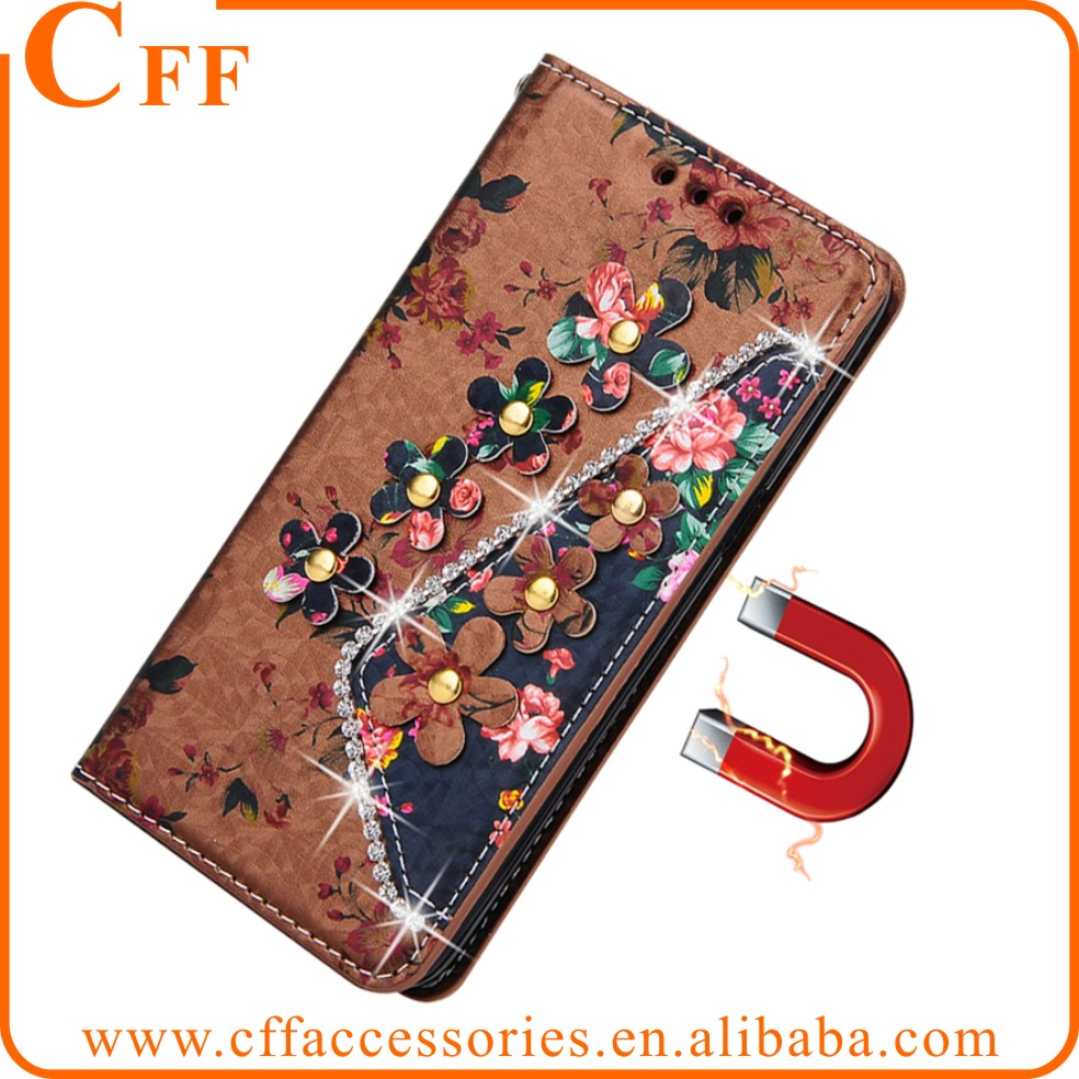 Diamond Bling Flower Printed Wallet Magntic Flip PU Leather Stand Case For Samsung Galaxy Note 4 5 7