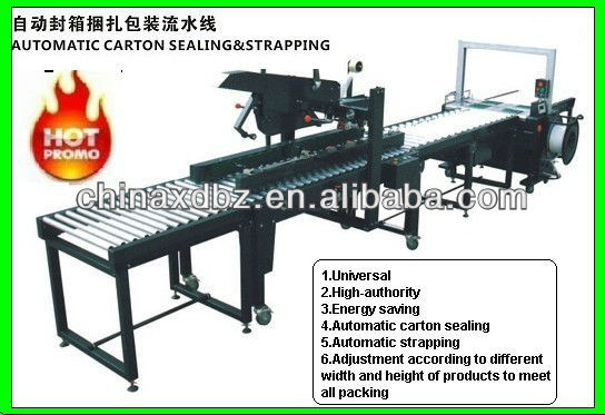 Automatic Carton Sealing And Strapping Packing Line