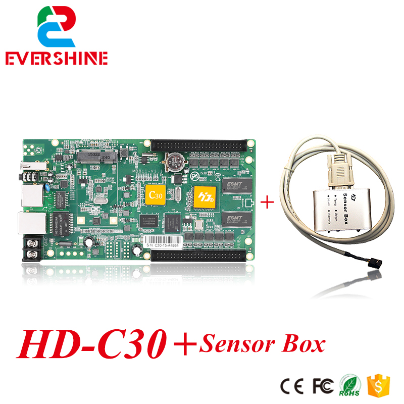Asyn display controller 640x480 pixels led dispaly system control card HD-C30 full color card + 1 pcs sensor box