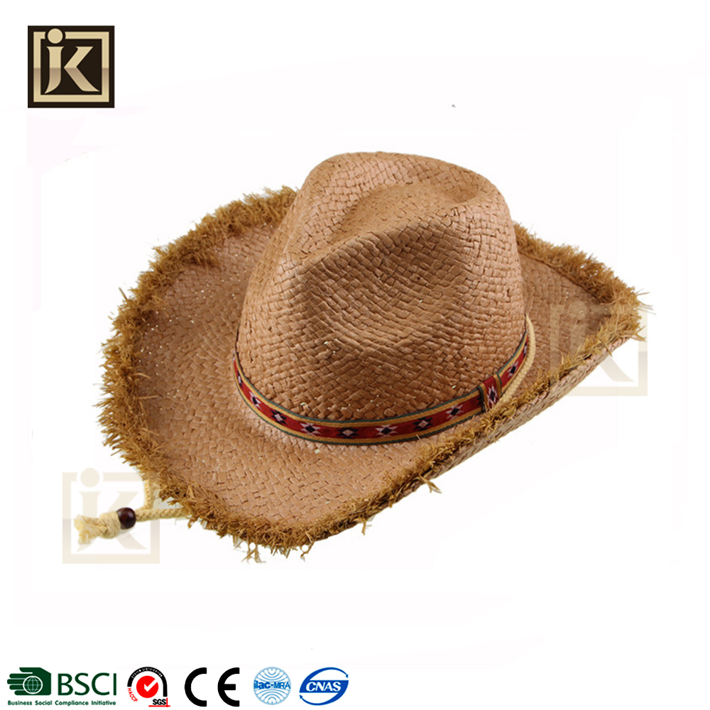 JAKIJAYI Brand 2017 hot sell personality brim design your own cheap straw cowboy hat