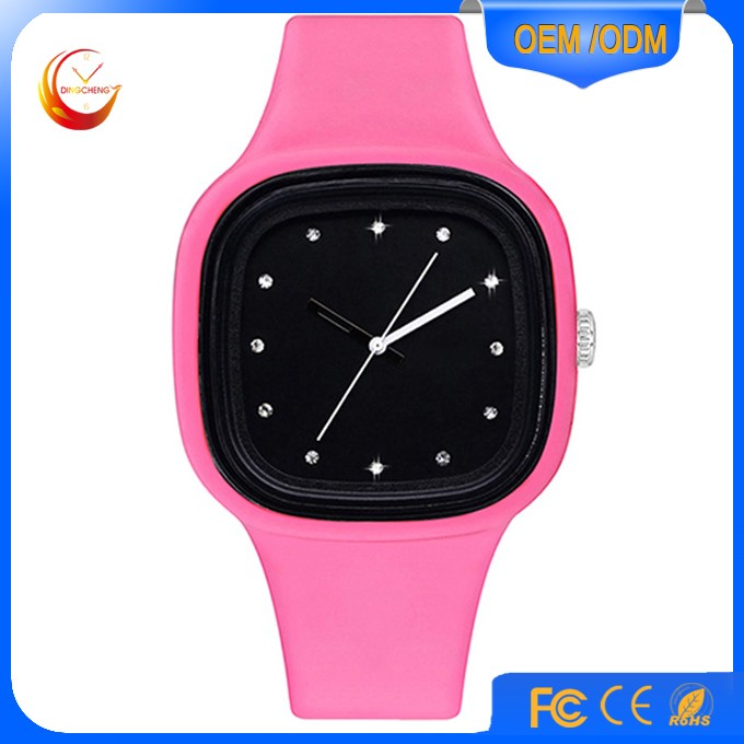 Make your own logo big square face silicone jelly watch 3 atm water resistant