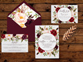 Watercolor Floral Marsala Wedding Invitations