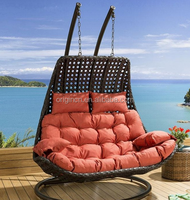 High quality fantastic indoor or outdoor patio synthetic rattan furniture double swing chair