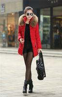 New 2014 jacket winter coat thicken Slim female raccoon fur collar and long coat women parka winter coat