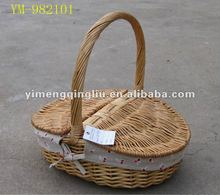 Empty Lined Wicker Picnic Basket Wholesale