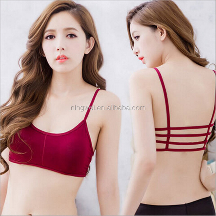 Fashion sexy shiny beautiful back 4 straps bra for young girl