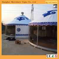 Viewing Mongolian bamboo yurts with french window
