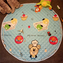 Soft Cotton Baby Play Mat Activity Gym Large Padded Playmat Crawling Pad, Round Shape Baby Mat Cotton