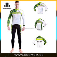 Customized Outdoor Sports clothing Men's Long Sleeve Cycling Jersey and sexey fitness pants set