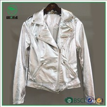 Ladies Fashion Silver Stand Collar Short PU Leather Jacket