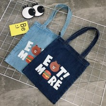 hot sale denim tote bag for girls with printing