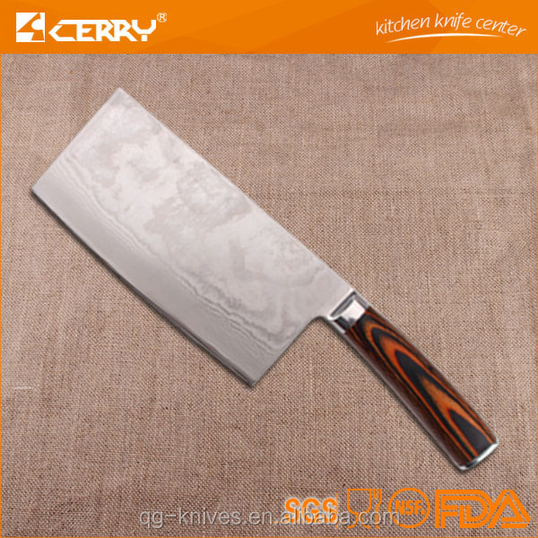 "high quality 7"" chinese wood handle meat cleaver knife cutting knife"